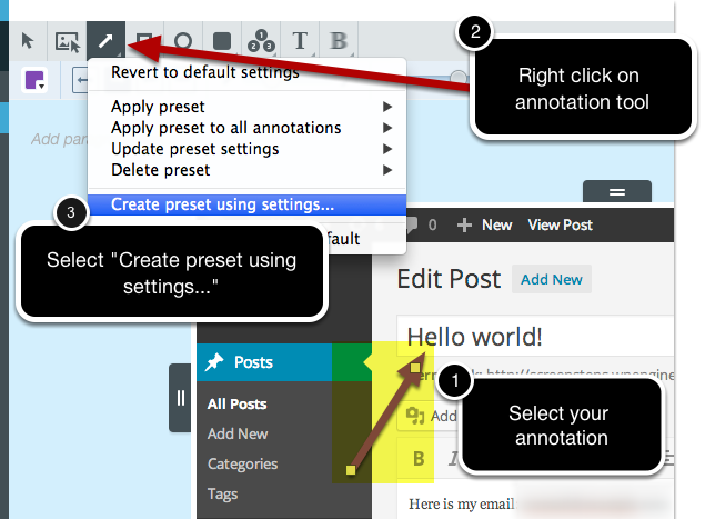 Select Preset and then Select Create Preset from Annotation menu