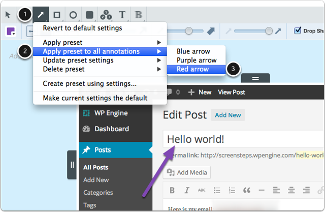 Select Annotation > Apply preset to all annotations