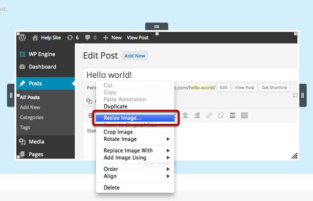 Resizing an image using the contextual menu