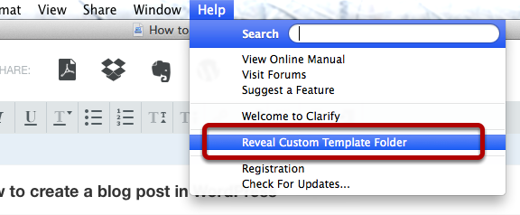 Accessing the Template folder