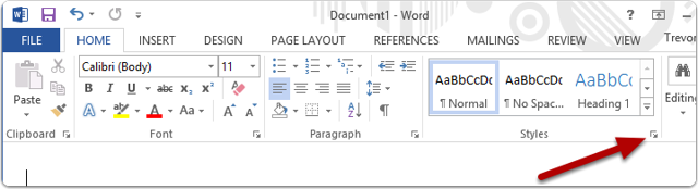 Opening the Styles editor (Word 2013 on Windows)