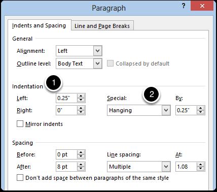 Format > Paragraph