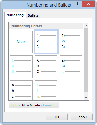 Format > Numbering and Bullets