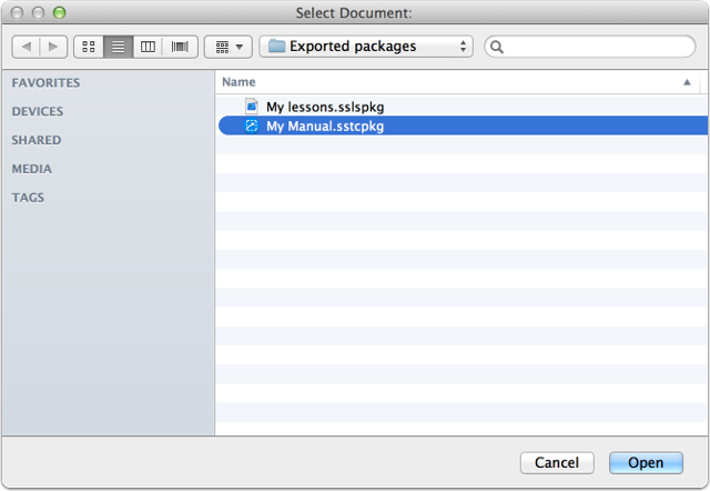 Select the package file