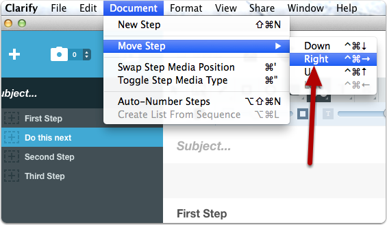 Move the step right using the Document > Move Step menu