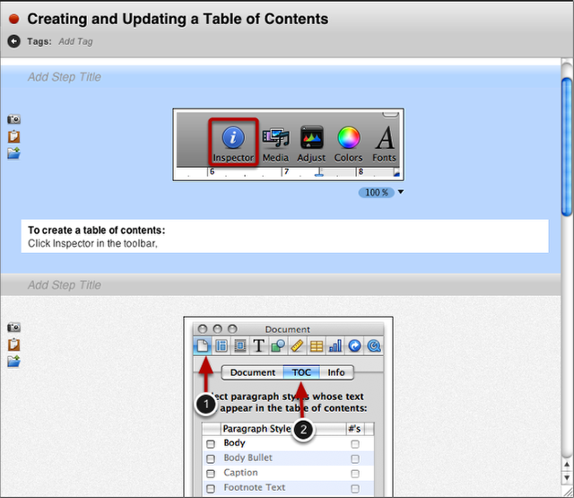 Add Images, Annotations and Step Titles