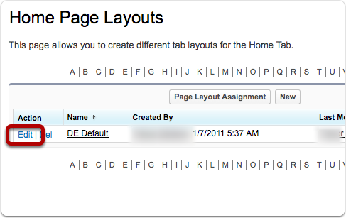 Edit the Home Page Layout