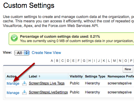 Manage the ScreenSteps Live Tags Custom Settings