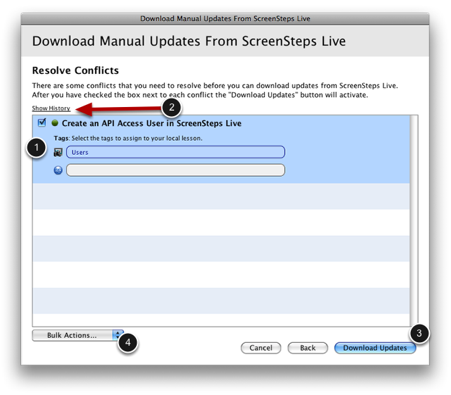 Resolve Conflicts Screen