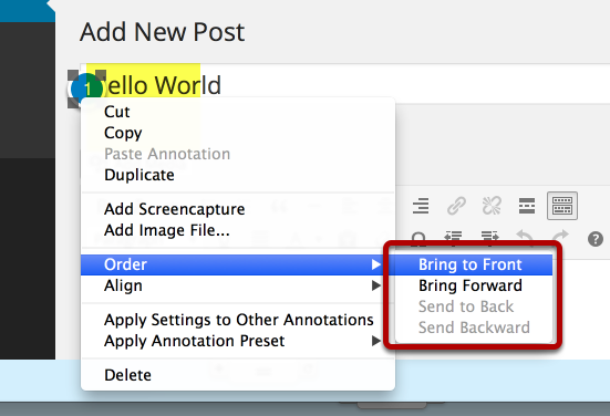Relayering annotations