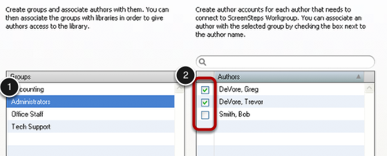 Associating Authors with Groups