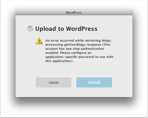 Error message when attempting to upload a blog entry