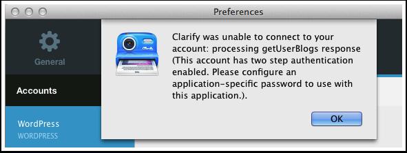 Wordpress.com Two-Step Authentication Error messages