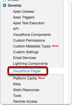 Navigate to App Setup > Develop > Visualforce Pages