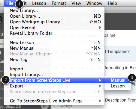 Select File > Import From ScreenSteps Live > Manual
