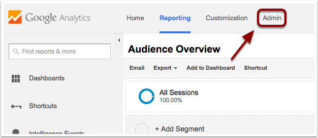 Go to your Admin tab in Google Analytics