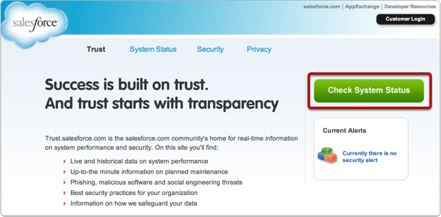 Go to http://trust.salesforce.com