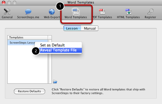 Open Word Templates Pane in Preferences