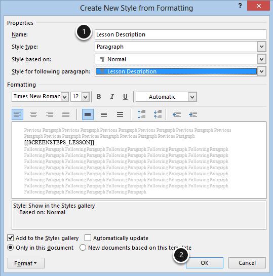 Create Lesson Description Style