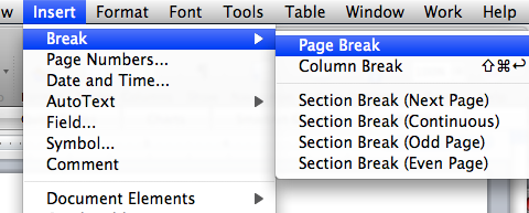 Insert Page Break