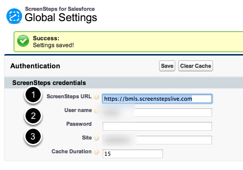 Check configuration of ScreenSteps Salesforce application