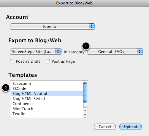 The Export Dialog