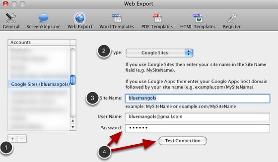 Create Web Export Account