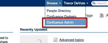 Navigate to Confluence Admin Screen