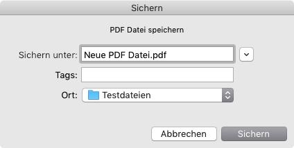 PDF-Datei unter neuem Namen abspeichern