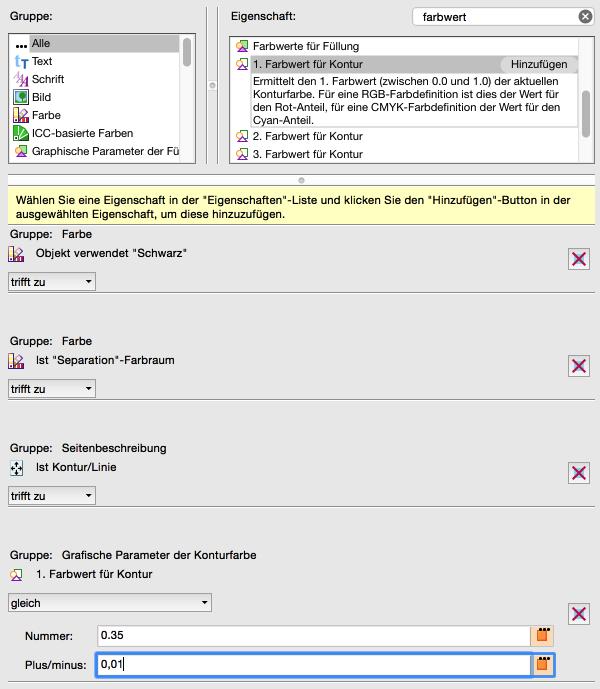 Neue Prüfung konfigurieren: '1. Farbwett für Kontur' auf 0.35 (für 35%) setzen –Wichtig: Zum Umgang mit Rundungsfehlern kleine Toleranz angeben (Plus/Minus 0,01)