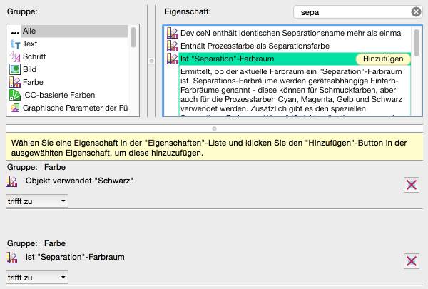 """Neue Prüfung konfigurieren: 'Ist """"Separation""""-Farbraum aus' hinzugefügt – Wichtig; auf """"trifft zu"""" schalten!"""