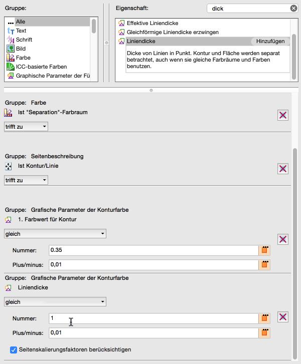 Neue Prüfung konfigurieren: 'Liniendicke auswählen und hinzufügen –Auf 1.0 pt mit einer Toleranz von Plus/Minus 0,01 einstellen