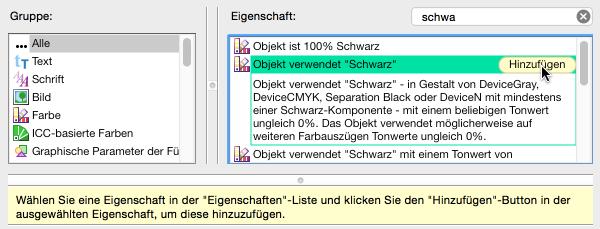 """Neue Prüfung konfigurieren: 'Objekt verwendet """"Schwarz""""' auswählen und hinzufügen"""