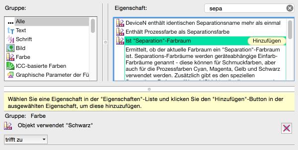 """Neue Prüfung konfigurieren: 'Ist """"Separation""""-Farbraum aus' auswählen und hinzufügen"""