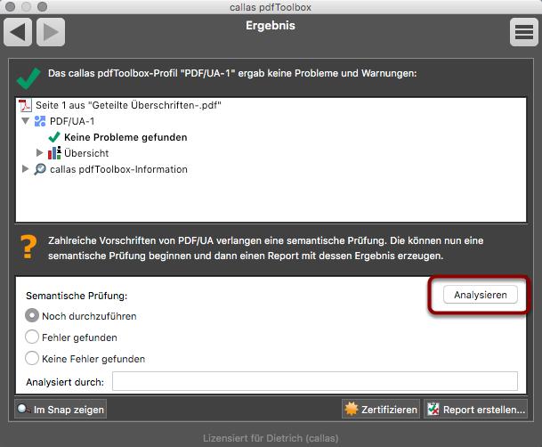 Danach erneut die PDF/UA Validierung durch Klick auf den PDF/UA Knopf starten