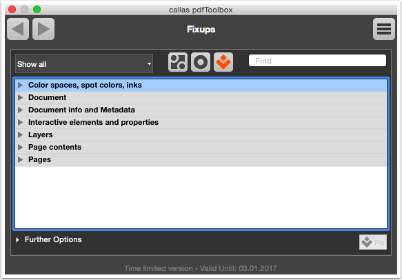 Go to the open Fixups dialog