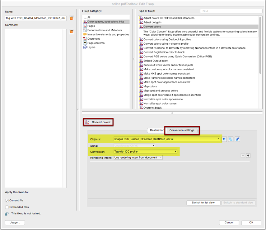 "Analyze imported Profile: Custom fixup ""Convert colors"" conversion settings"
