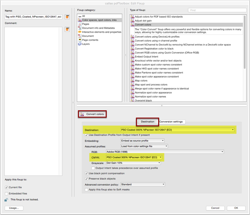 "Analyze imported Profile: Custom fixup ""Convert colors"""