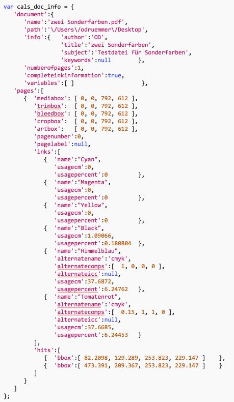"""Inhalt der """"calsDocInfo.js""""-Datei mit Angaben zu Sonderfarben, Flächendeckung und Postionen der Treffer der """"Anwenden auf""""-Prüfung"""