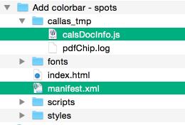 """Beispiel für Aufbau eines HTML-Dateiordner mit """"calsDocInfo.js"""" und """"manifest.xml"""""""