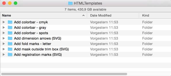 """Menüpunkt """"Ordner mit Konfigurationsdateien öffnen"""" öffnet den entsprechenden Ordner """"HTMLTemplates"""""""