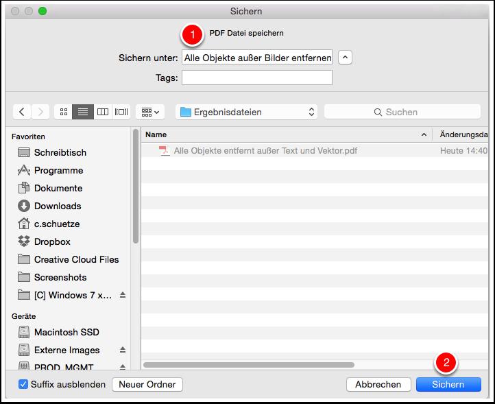 Die Ausgabe-PDF-Datei speichern
