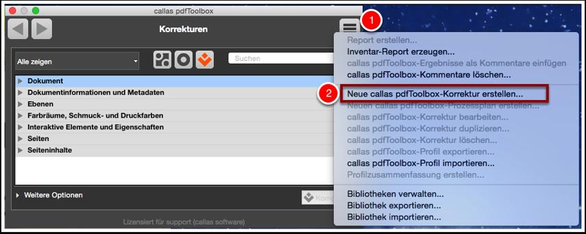 Neue callas pdfToolbox-Korrektur erstellen