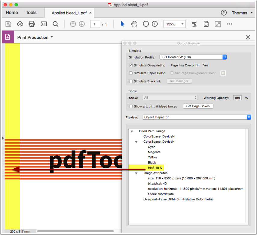 Analyze the processed PDF file in Adobe Acrobat Output Preview