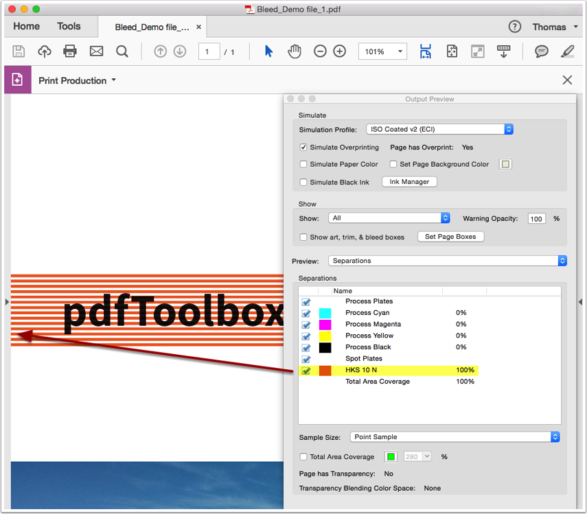 """Open the PDF file """"Bleed_Demo file_1"""" in Adobe Acrobat Output Preview"""