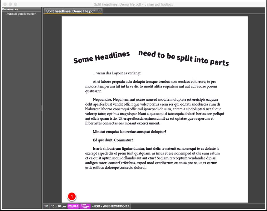 Validate the PDF/UA-1 file