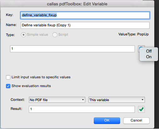 For Checkboxes and Pop ups you can use the info button to pick one of the possible default values