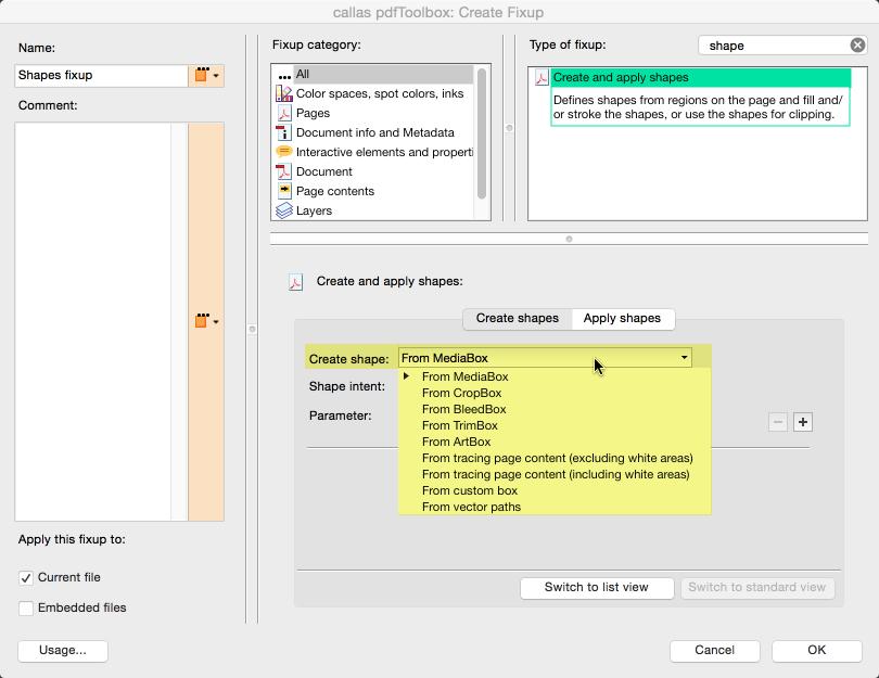 """Create shape"" parameter"