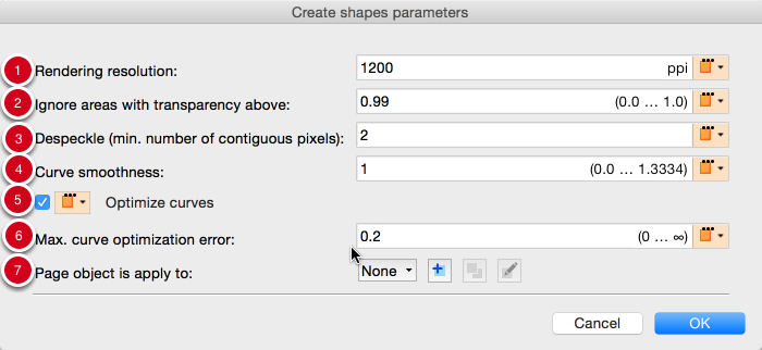 Parameters for shapes based on tracing page content (including or excluding white areas)