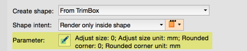 Additional parameters for defining shapes